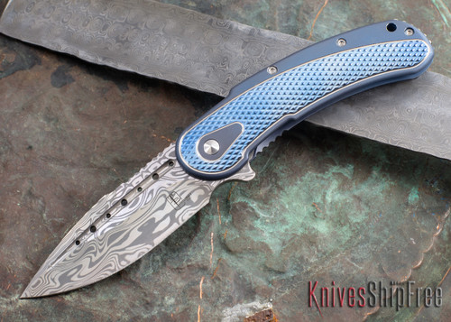 Todd Begg Knives: Steelcraft Series - Bodega - Blue Frame - Blue Diamond Pattern - Damasteel 101