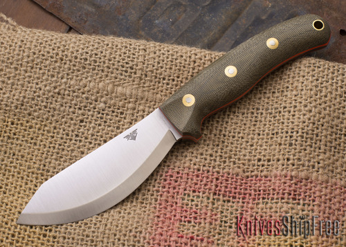 L.T. Wright Knives: JX2 Jessmuk - CPM 3V - Green Canvas Micarta - Orange Liners