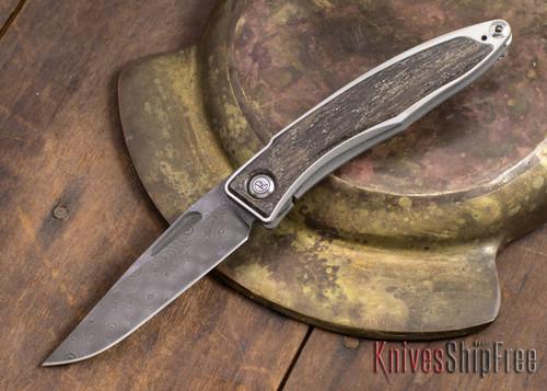 Chris Reeve Knives: Mnandi - Bog Oak - Chad Nichols Raindrop Damascus - 021611