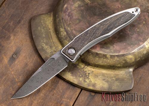 Chris Reeve Knives: Mnandi - Bog Oak - Chad Nichols Raindrop Damascus - 021614