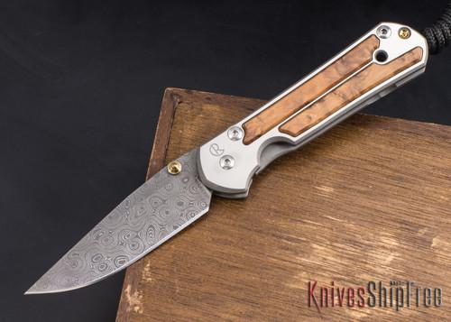 Chris Reeve Knives: Small Sebenza 21 - Thuya Burl - Chad Nichols Raindrop Damascus - 022102