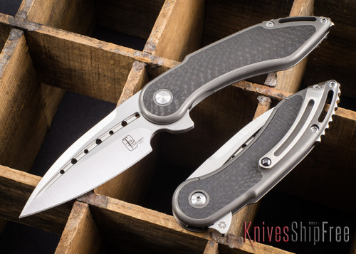 Todd Begg Knives: Steelcraft Series - Mini Glimpse - Carbon Fiber Inlay - Silver Titanium - Satin Blade