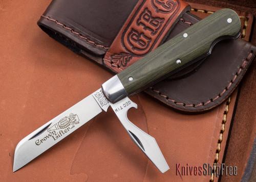 Great Eastern Cutlery: #15 - Tidioute - Crown Lifter - OD Green Linen Micarta