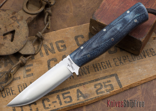 Cross Knives: Bushcraft LT Knife - Denim Micarta - Black Liners