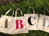 Personalized Initial Canvas Tote Bag, Alphabet Tote Bag