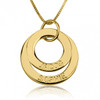 Personalized Two Ring Engraved Circle Necklace - 24K Gold Plated
