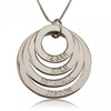 Personalized Four Ring Engraved Circle Necklace - Sterling Silver
