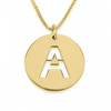 24K Gold Plated Personalized Initial Cut Out Disc Necklace