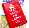 Keep Calm and Carry On Leather Passport Holder, Women's Leather Passport Cover, Personalised Leather Passport Cover