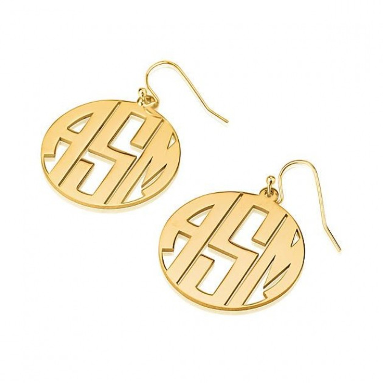 silver product block jumbo earrings monogram in mynamenecklace