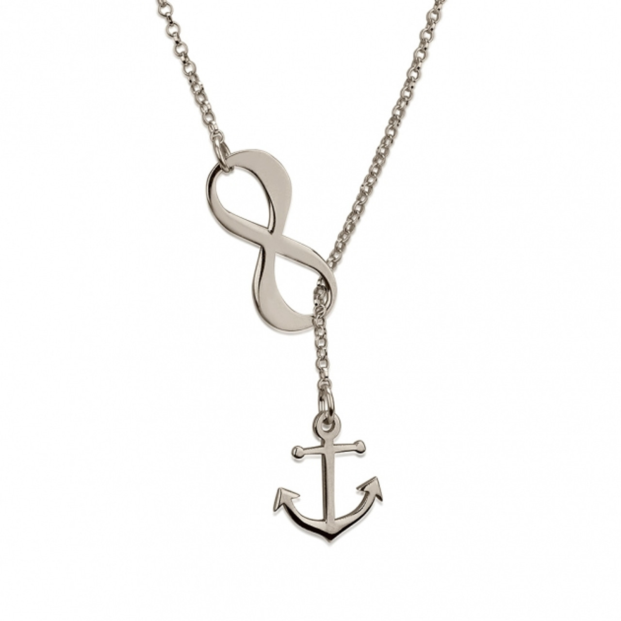 Infinity Anchor Lariat Necklace Sterling Silver