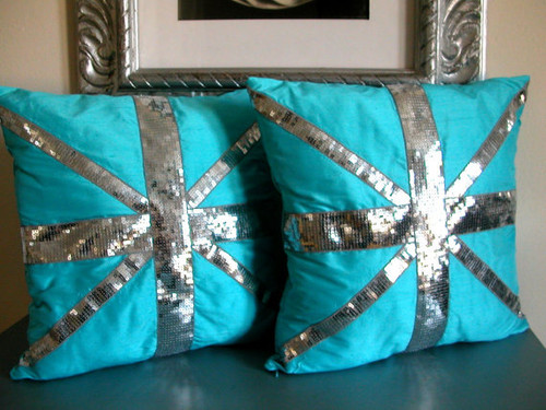 Silk Shantung Union Jack Cushion, Union Jack Throw Pillow -turquoise