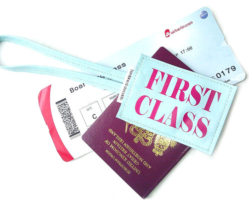 First Class Leather Luggage Tag