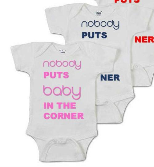 Nobody Puts Baby In The Corner Baby Onesie & Baby Grow (soft pink, navy, red)