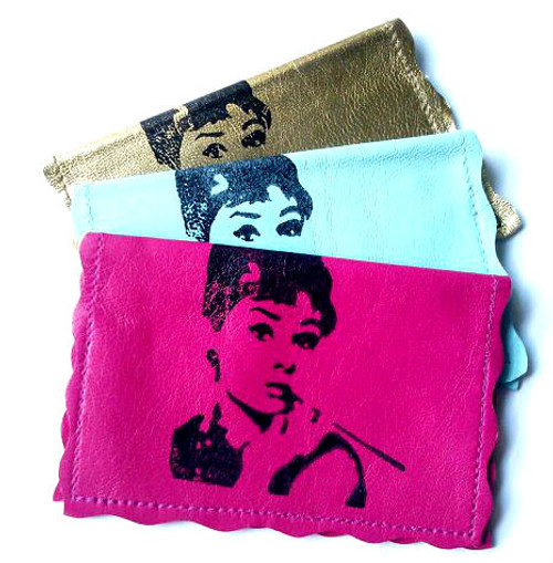 Audrey Hepburn Leather Business Card Holder
