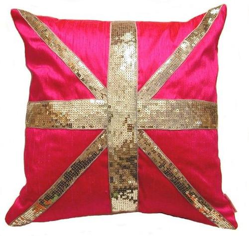 Hot Pink Silk Shantung & Sequin Union Jack Cushion & Throw Pillow