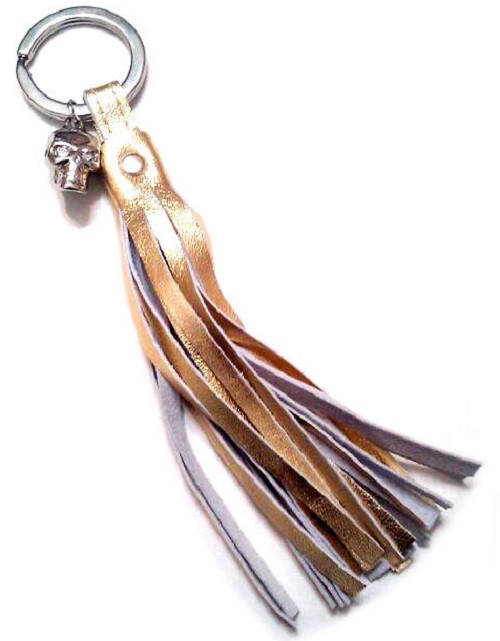 Freya leather Tassel Key Chain with Swarovski Crystal Skull