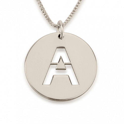Sterling Silver Initial Cut Out Disc Necklace