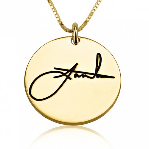 Personalized Handwritten Signature Necklace- Gold Plated 24K