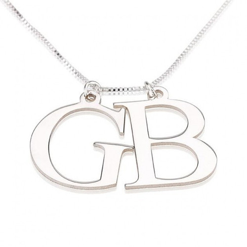 Lottie Two Initials Necklace - Sterling Silver