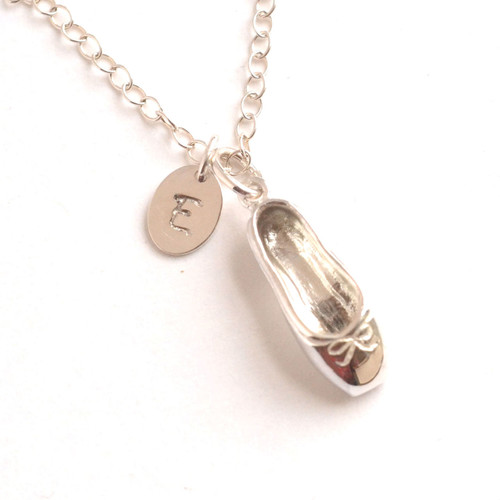 Personalized Ballet Slipper Necklace - Sterling Silver