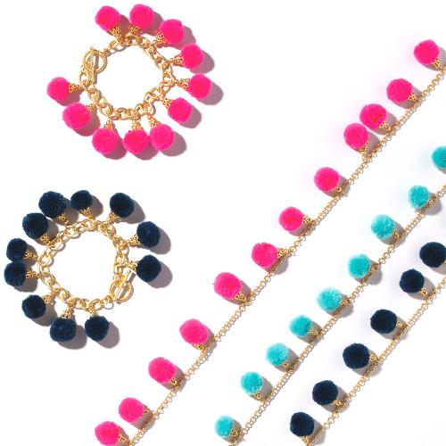 Fiesta Pom Pom Bracelet - Pink, Navy,  Aqua