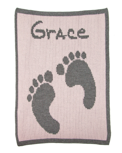 Personalized Baby Footprints & Name Stroller Blanket -  Pale Pink/ Charcoal Accent