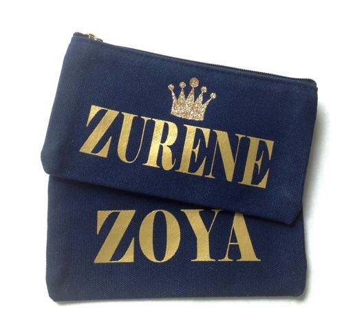 Glitter Crown Personalized Blue Canvas Make Up Bag