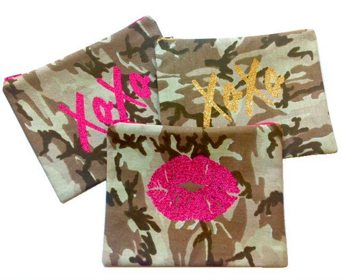 Camouflage make Up Bag With Glitter Lips or XoXo