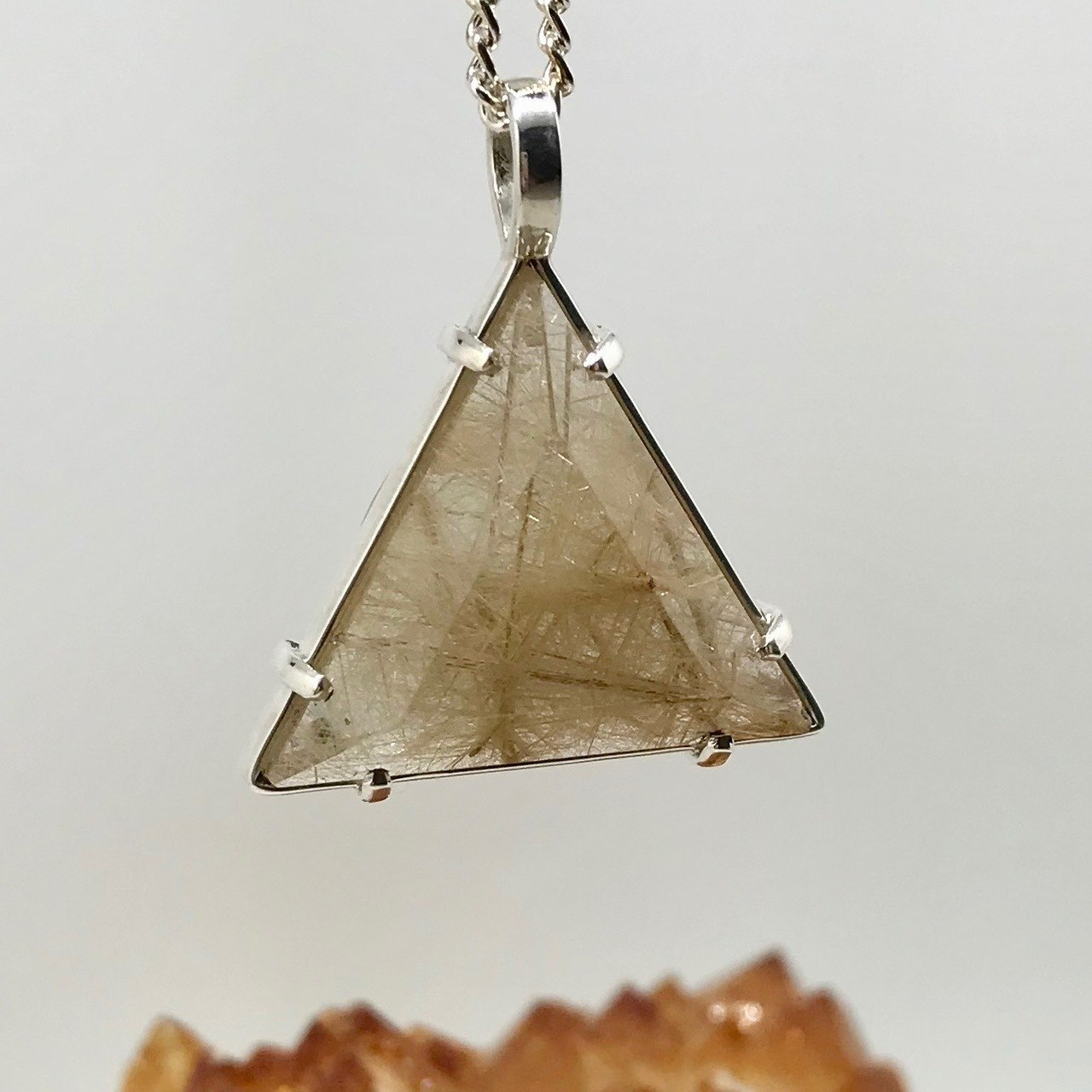 Rutile and Clear Quartz Healing Crystal Pendant