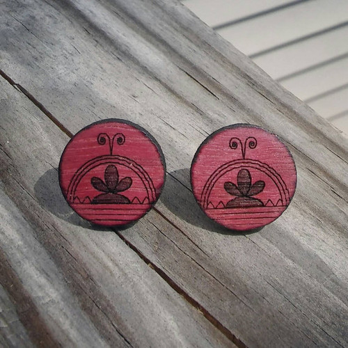 Purple Heart Wood SkyDome Stud Earrings
