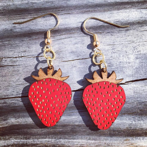 Wooden Strawberry Earrings