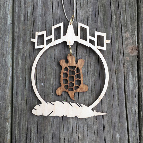 Turtle with Sunrise Feather and Hiawatha Belt