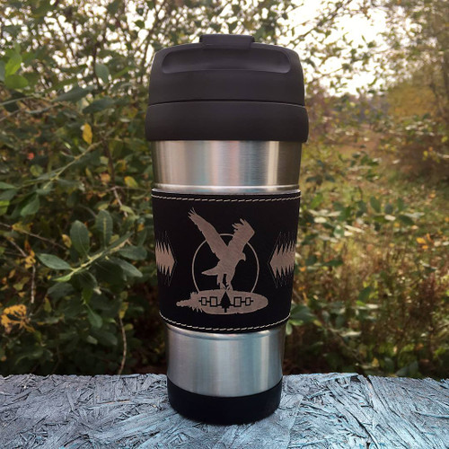 Leatherette-Wrapped Engraved Thermal Tumbler