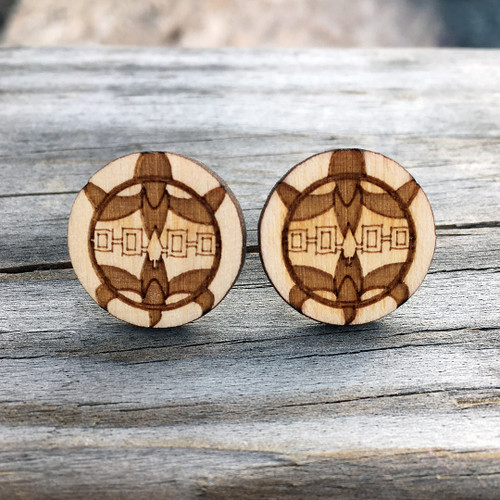 Wooden Haudenosaunee Turtle Stud Earrings