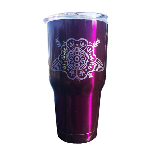 30oz. Tumbler with Turtle Flower