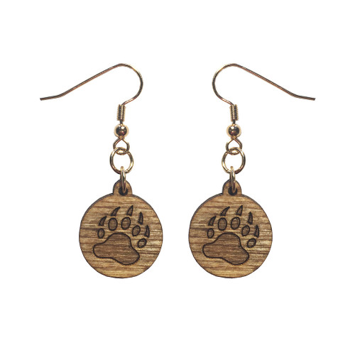 Wooden Bear Paw Earrings