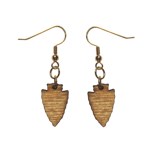 Wooden Arrowhead Earrings