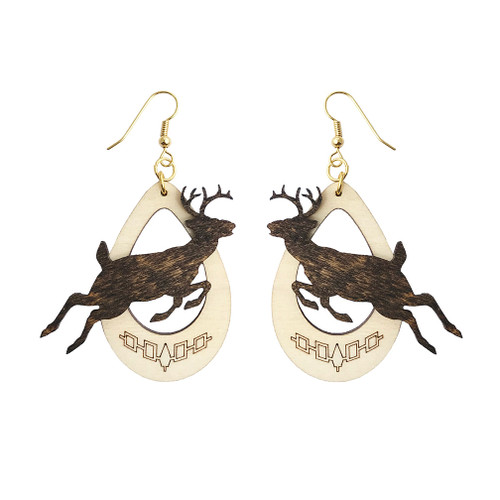 Wooden Overlay Clan Earrings