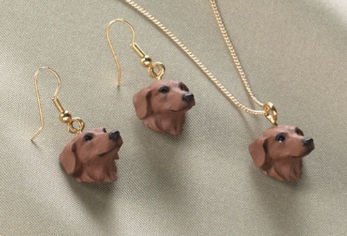 Red Dachshund Earrings