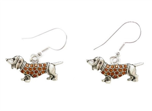 Rhinestone Dachshund Earrings