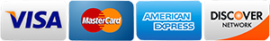 Visa, MasterCard, Discover, and American Express credit cards accepted via PayPal