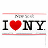 Car I Love NY license plate made of aluminum, tin.  officially licensed