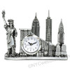 Silver New York Landmarks Clock with Statue of Liberty and Freedom Tower