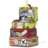 Glass vacation travel destination luggage Christmas ornament