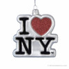 I Love NY logo glass Christmas ornament