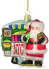 Santa's NYC Snack Cart Glass Ornament