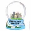 Portland, Oregon Snow Globe scene with skyline and mountains