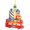 London Bus and Landmarks Glass Ornament