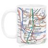 White NYC Subway Lines Mug, 11oz coffee mug